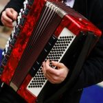 The musician playing the accordion player instrument