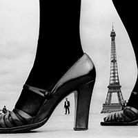 "Frank Horvat, For ""STERN"", shoes and Eiffel Tower, 1974, Paris, France © Frank Horvat"